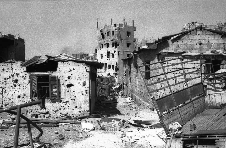 Liban guerre a Beyrouth Tell Zaatar 1976 (wb)
