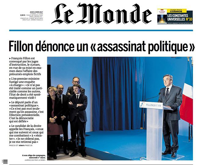 Fillon Le Monde assassinat politique 02 2017